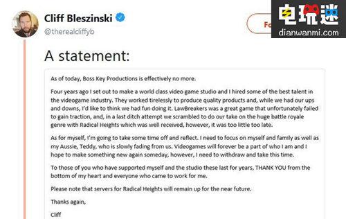 BossKey工作室解散丨《战争机器》之父退出游戏圈 电玩资讯