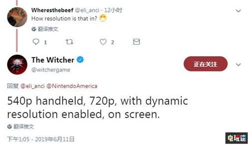 E3:Switch版《巫师3》主机模式720P 手持模式540P 任天堂SWITCH 第2张