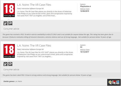 欧洲评级机构透露《黑色洛城:VR档案》将登陆PSVR 索尼PS 第2张
