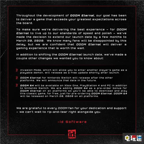 《毁灭战士:永恒》宣布延期至明年3月 增加入侵模式 id Software 贝塞斯达 PC Switch Xbox One PS4 毁灭战士64 DOOM 毁灭战士:永恒 电玩迷资讯  第3张