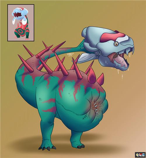 玩家绘制写实风《宝可梦:剑盾》化石宝可梦 鳃鱼龙好吓人 任天堂SWITCH 第2张