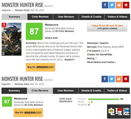 《怪物猎人:崛起》MC媒体综评87分 新鲜有趣但是故事挖坑 卡普空 MHR Switch 游戏评分 MC评分 怪物猎人:崛起 任天堂SWITCH  第2张
